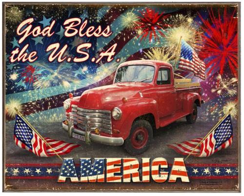 """GOD  BLESS  THE  USA""  METAL  SIGN"