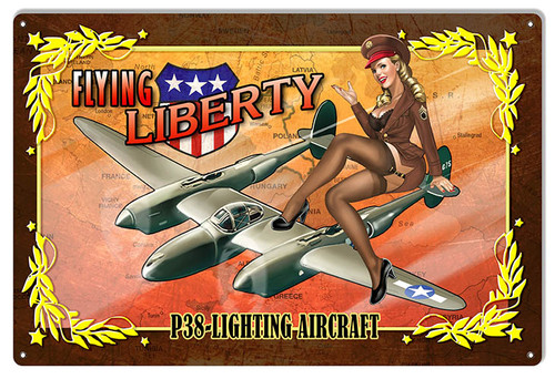 """""""P38  Lightning  Aircraft &  Pin-Up Girl""""  Aviation Metal Sign"""