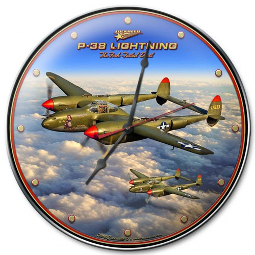 """P-38 Lightning""  CLOCK  (USA-MADE)"