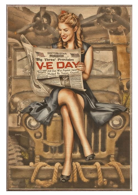 """V-E   DAY   PIN-UP""  BIRCH  WOOD  PRINT"