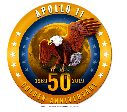 Golden Apollo 11-- 50th Anniversary Eagle and Moon --metal sign