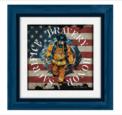 """""""A TRIBUTE TO OUR BRAVE FIREFIGHTERS""""  BIRCHWOOD   PRINT"""