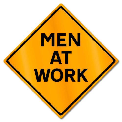 """MEN  AT  WORK"" CAUTION METAL SIGN"