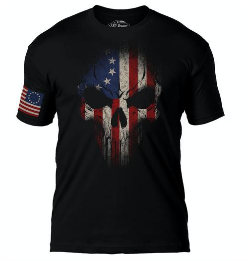 VINTAGE FLAG AND SKULL ---MEN'S T-SHIRT