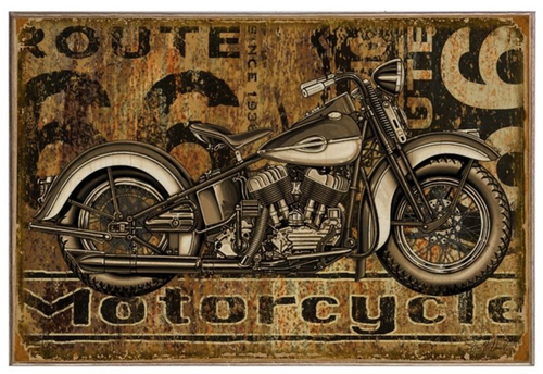 """ROUTE 66 MOTORCYCLE""   BIRCH WOOD PRINT"