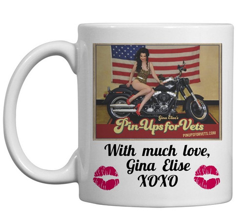 """GINA  ELISE  ON  A  HARLEY""  CERAMIC MUG"