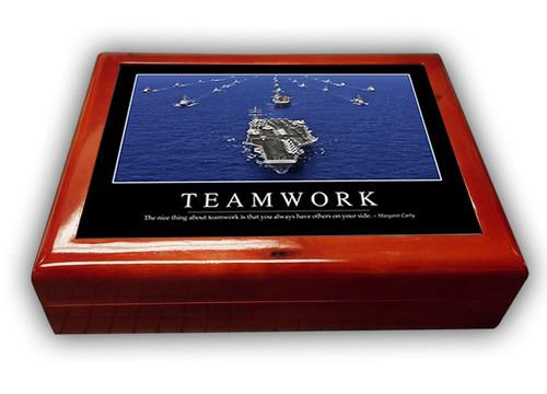 NAVY  TEAMWORK ---MAHOGANY  WOOD  BOX