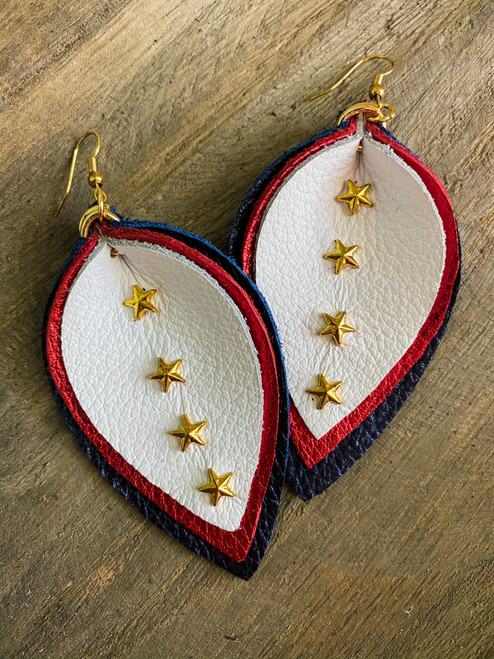 American Stars Leather Leaf Earrings