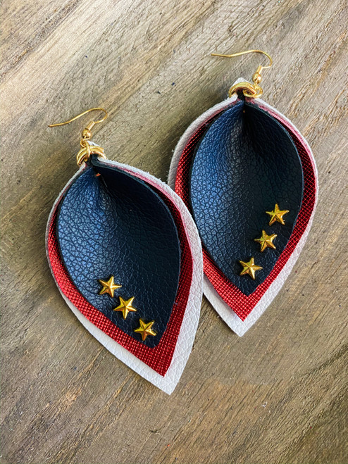 American Patriot Leather Leaf Earrings