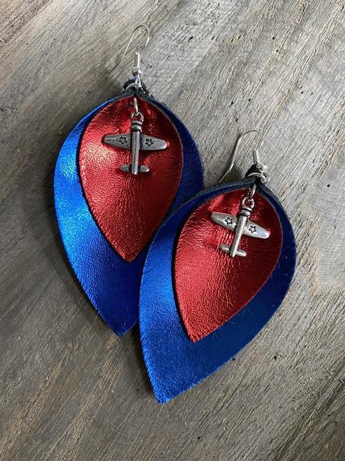 Military Plane Metallic Leather Leaf Earrings