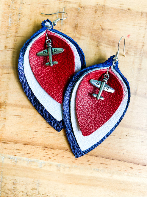 Military Plane Triple-Layer Leather Leaf Earrings
