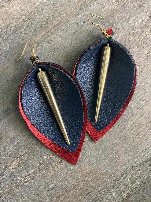 Metal & Brass Leather Leaf Earrings  (Red/Blue)