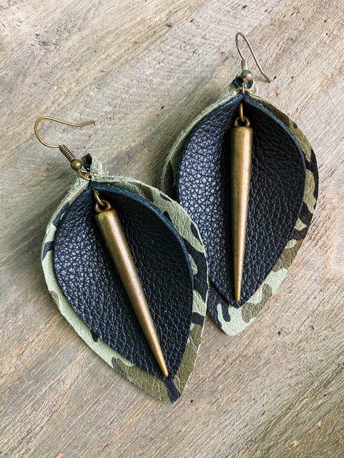 Metal & Brass Leather Leaf Earrings  (Camo)