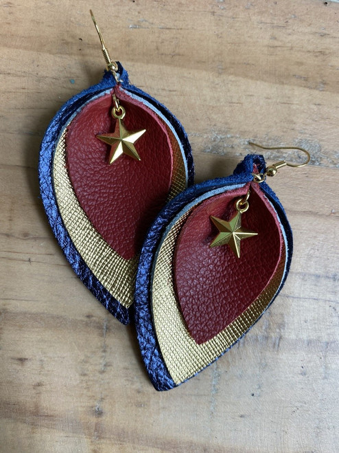 American Star Triple-Layer Leather Leaf Earrings
