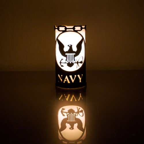 Navy Metal Candle Holder Luminary