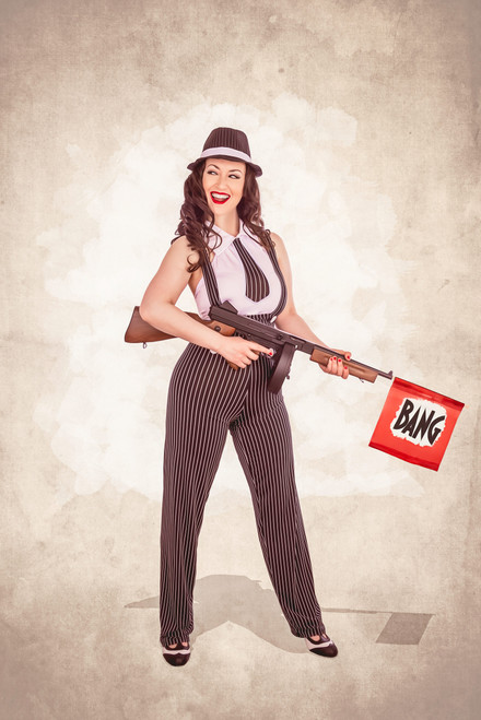 Pin-Stripe Pin-Up Poster