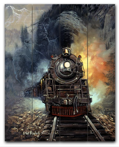 """""""MIGHTY  LOCOMOTIVE""""  PLANKED  WOOD  SIGN"""