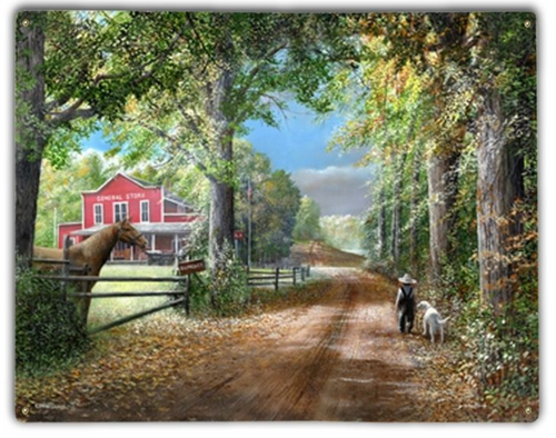 """""""A COUNTRY ROAD TO THE GENERAL STORE""""  METAL WALL  ART"""