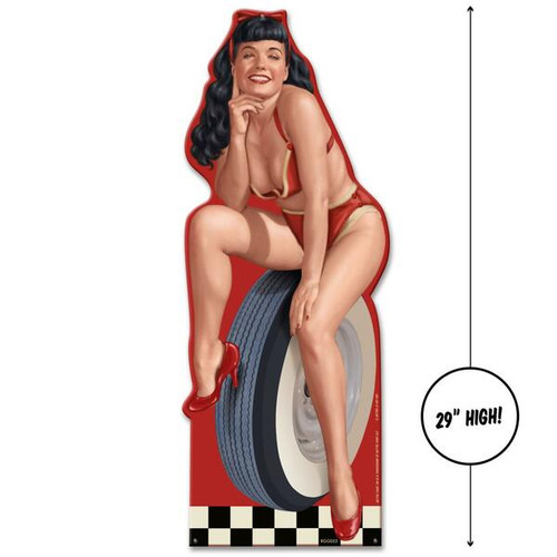 BETTIE  PAGE  HOT  ROD **CUT-OUT   METAL  WALL  ART