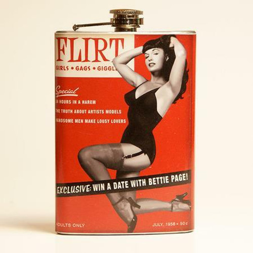 Bettie Page Pin-Up  on Cover of Flirt Magazine ---Flask