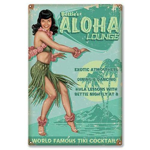 Bettie Page  Aloha  Lounge  Metal  Sign