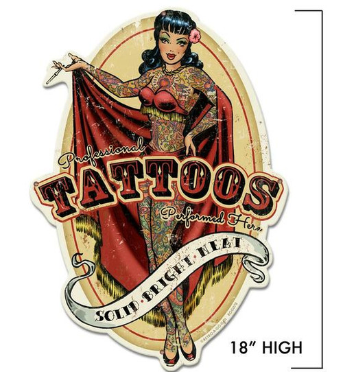TATTOO  PARLOR  METAL CUT-OUT  SIGN