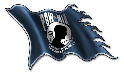 POW-MIA  METAL  FLAG