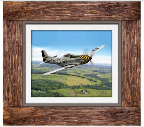 P-51  MUSTANG ---   Art  print in a faux frame from birchwood