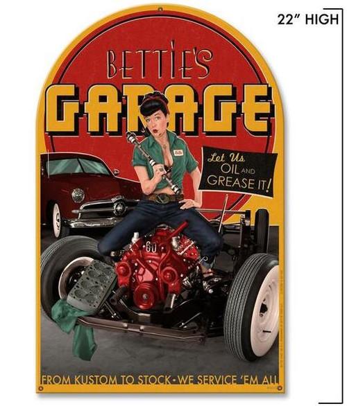 BETTIE  PAGE'S  GARAGE  METAL. SIGN