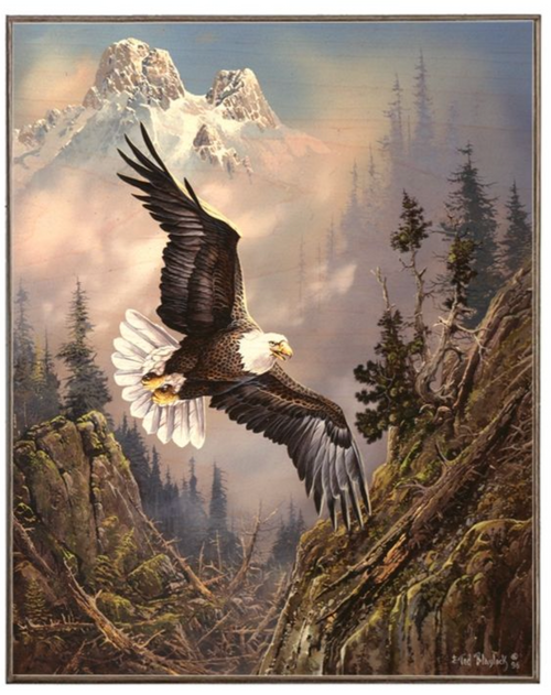 EAGLE  IN  THE  MOUNTAINS  BIRCH WOOD PRINT