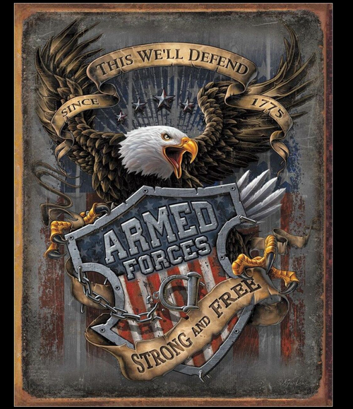 ARMED  FORCES--  SINCE 1775 ---METAL. SIGN