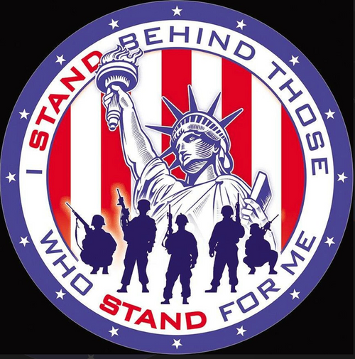I  STAND  BEHIND  THOSE  WHO  STAND  FOR   ME---METAL  SIGN