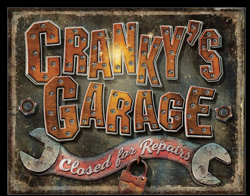 CRANKY'S  GARAGE ------------------METAL  SIGN