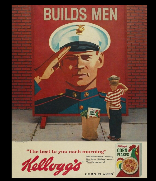 KELLOG'S AND THE USMC BUILD MEN---METAL SIGN