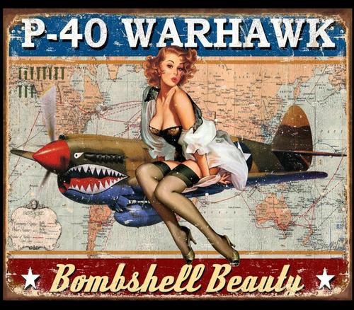 WARHAWK BOMBSHELL BEAUTY---METAL SIGN