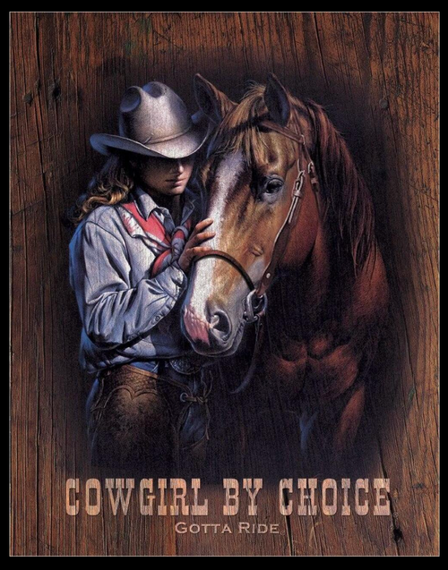 COWGIRL  BY  CHOICE ------------METAL  SIGN