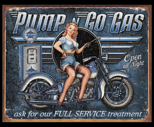 PUMP  n  GO  GAS     ------------------------        METAL  SIGN