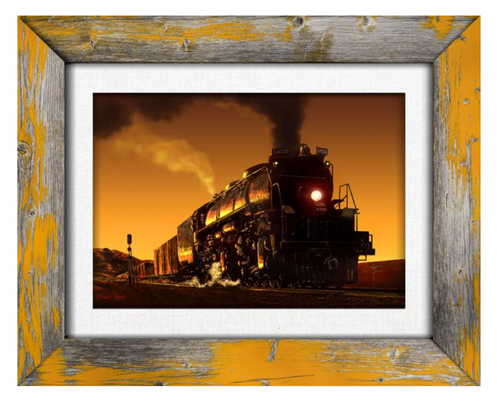 THE  SUNSET  EXPRESS --with faux/printed frame--birchwood print