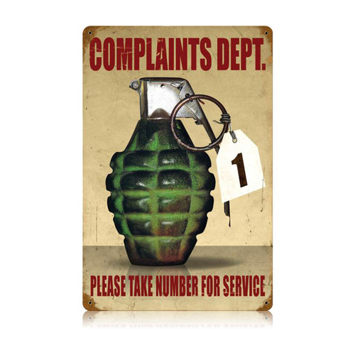 """COMPLAINTS  DEPARTMENT""  METAL  SIGN"