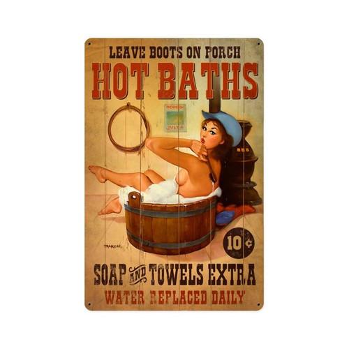 """"""" HOT  BATHS """"  VINTAGE METAL SIGN"""