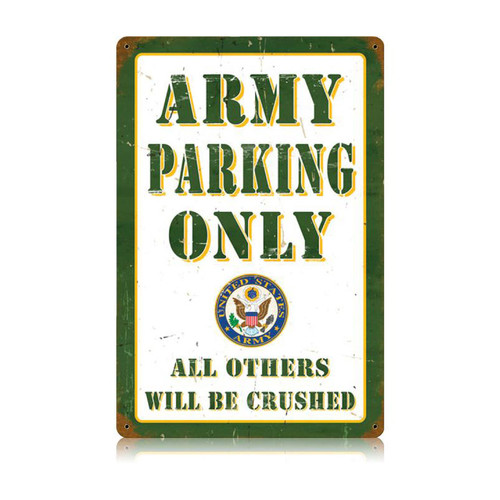 """ARMY  PARKING""  VINTAGE  METAL SIGN"