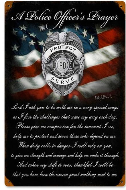 """POLICE OFFICER'S  PRAYER ""  METAL SIGN"