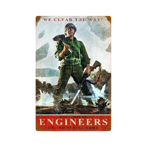 """ARMY  CORPS  OF  ENGINEERS"" METAL  SIGN"
