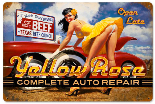"""YELLOW  ROSIE  REPAIR""  VINTAGE METAL SIGN"