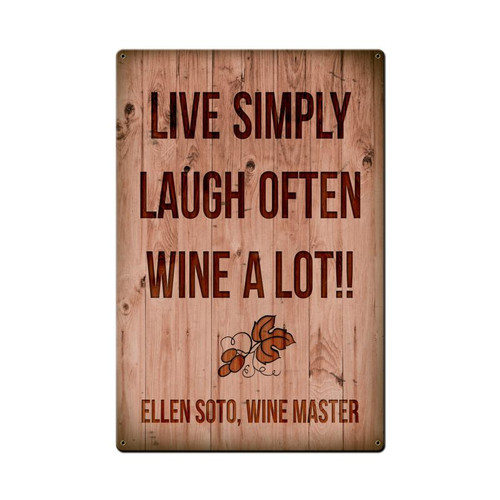 """'WINE  A LOT """"  PERSONALIZED METAL SIGN  (type a name in sign text box)"""