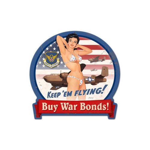 """B-25  WAR  BONDS""  VINTAGE METAL SIGN"