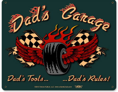 """DAD'S  GARAGE""  METAL  SIGN"