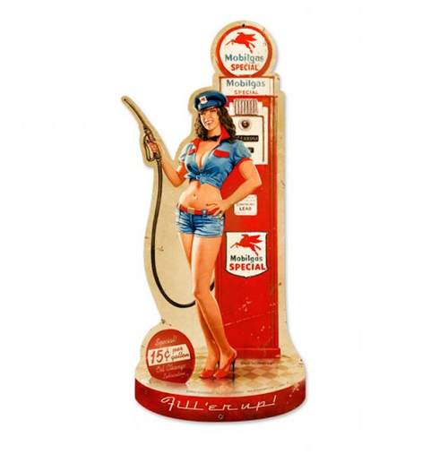 """GAS  PUMP  GIRL""  METAL SIGN"