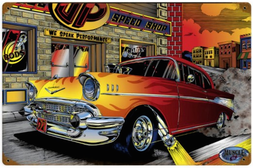 """""""CHEVY  SPEED  SHOP"""" METAL SIGN"""