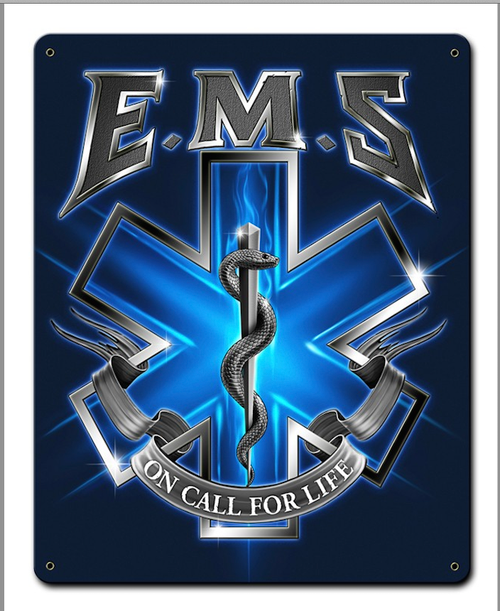 """EMS  ON  CALL""  METAL  SIGN"